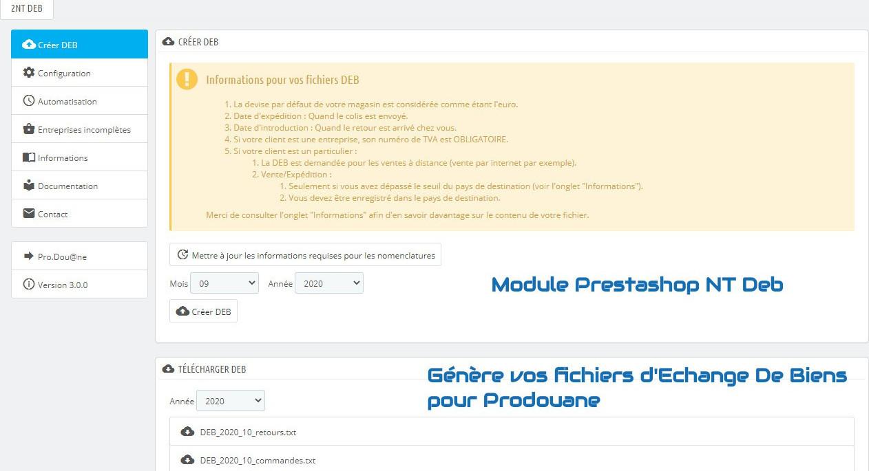 NT Deb : Générez vos fichiers D'Echange De Biens (DEB) pour ProDouane