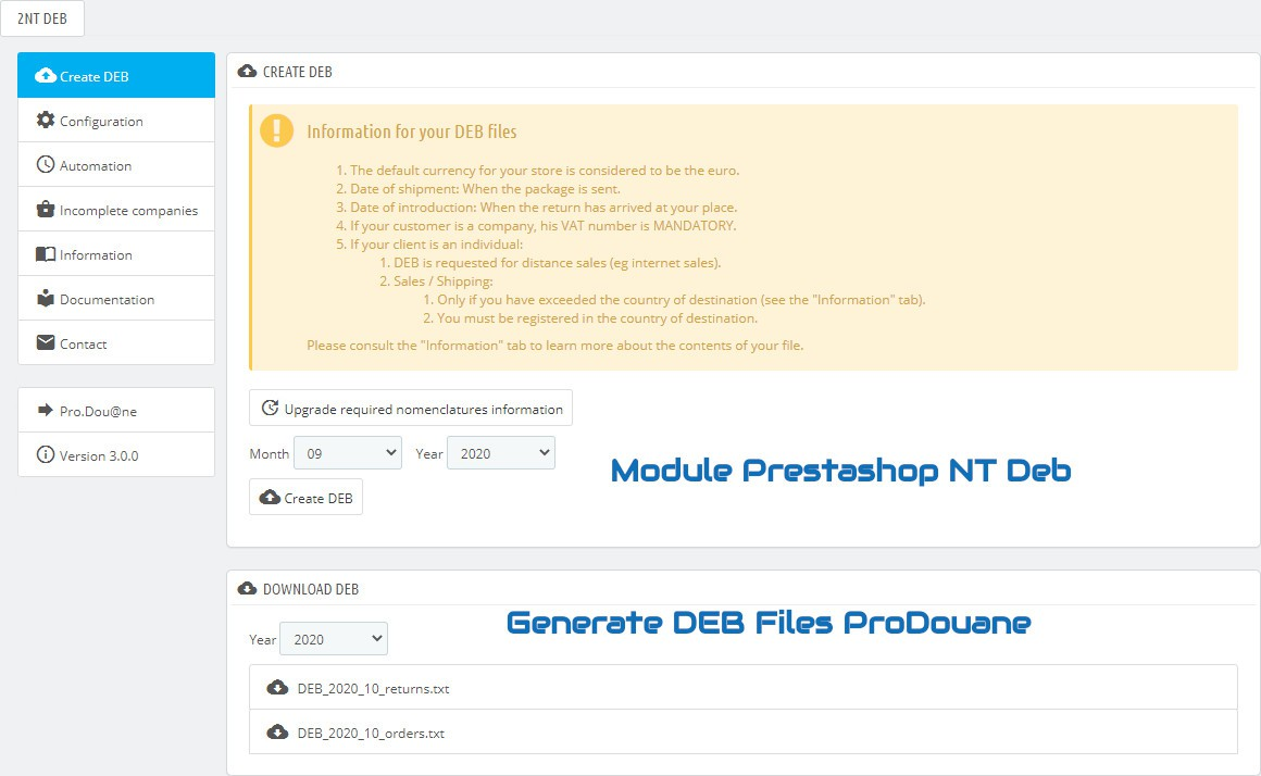 NTDeb : Generate DEB files for ProDouane