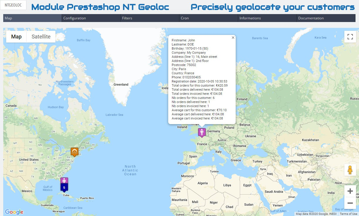 Module Prestashop NT Geoloc : Precisely geolocate your customers