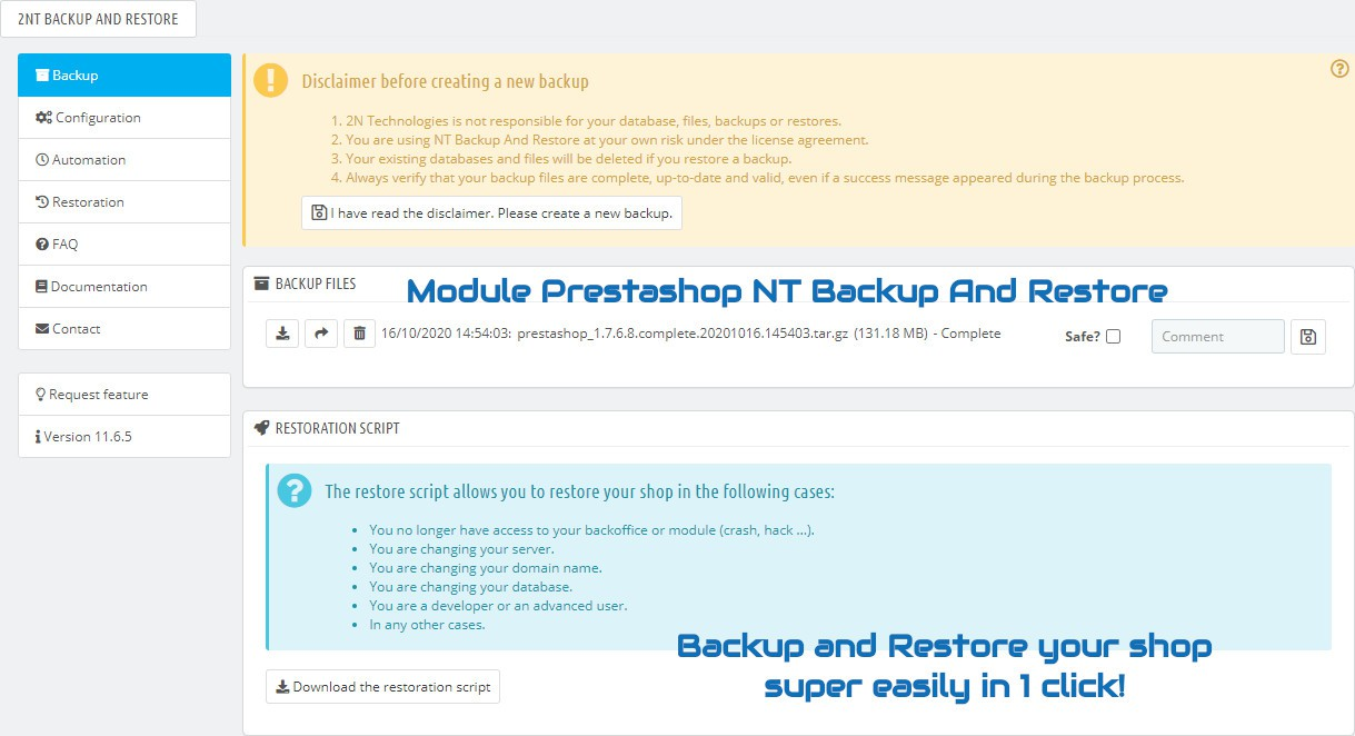 Module Prestashop NT Backup And Restore : Backup and restore your shop super easily in 1 click !