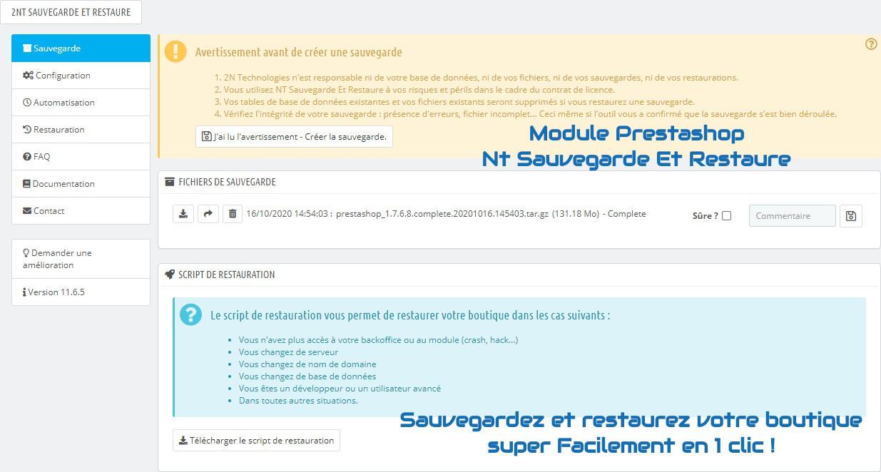 Module Prestashop NT Sauvegarde Et Restaure : Sauvegardez et restaurez votre boutique super facilement en 1 clic !
